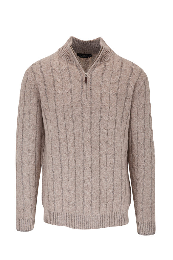 Kinross Camel Cashmere Cable Knit Quarter Zip Pullover