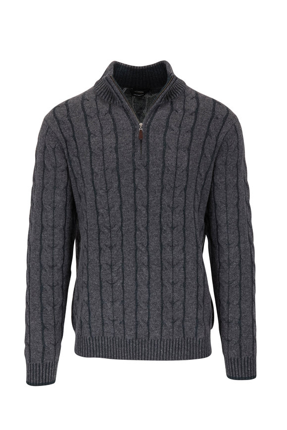 Kinross Gray Cashmere Cable Knit Quarter-Zip Pullover