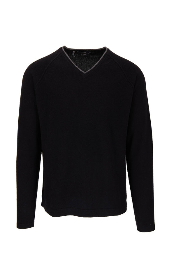 Kinross Black Exposed Seam Cashmere Pullover Sweater