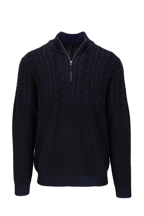 Kinross Black Half Cable Knit Quarter-Zip Pullover
