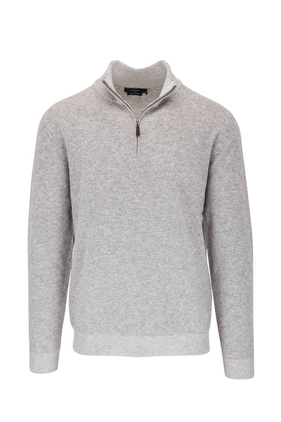 Kinross Light Gray Lattice Cashmere Quarter Zip Pullover