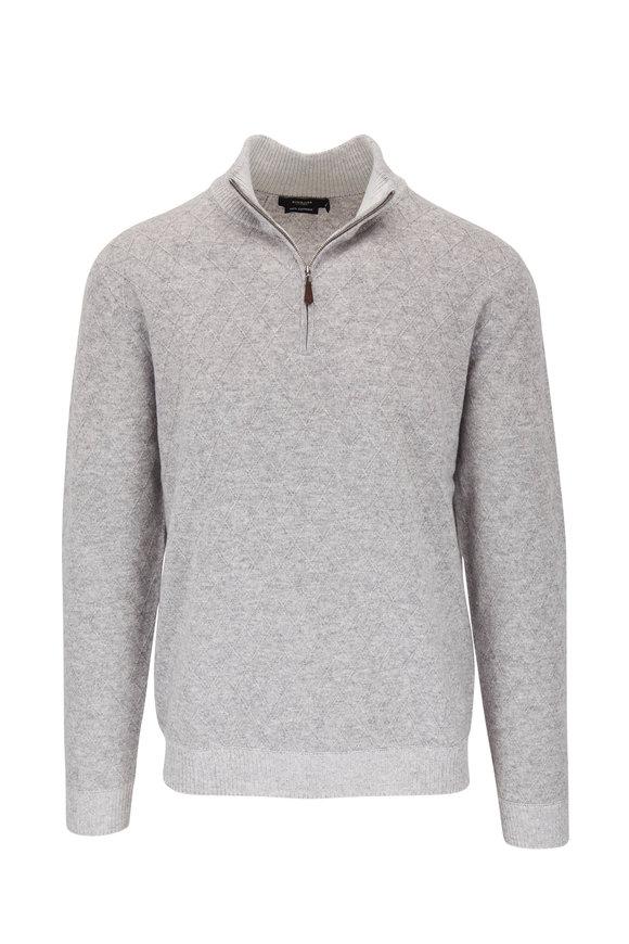 Kinross Light Gray Lattice Cashmere Quarter Zip Pullover