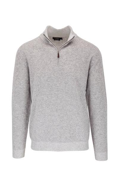 Kinross - Light Gray Lattice Cashmere Quarter Zip Pullover