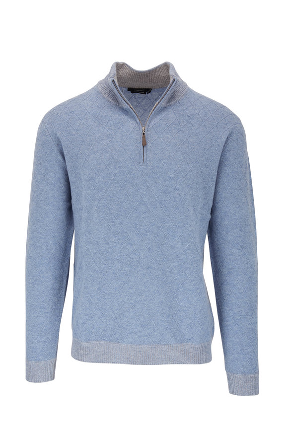 Kinross Light Blue Lattice Cashmere Quarter Zip Pullover