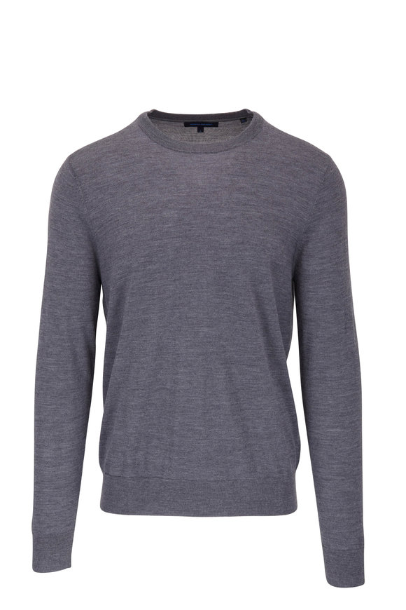 PYA Patrick Assaraf Light Gray Merino Wool Crewneck Sweater