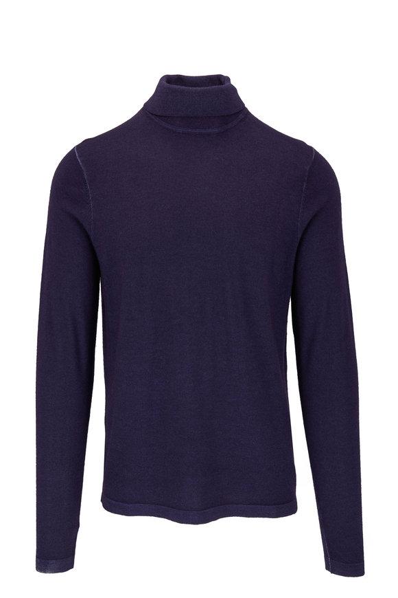 PYA Patrick Assaraf Eggplant Wool Turtleneck Sweater
