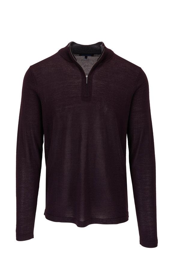 PYA Patrick Assaraf Burgundy Wool Quarter Zip Sweater