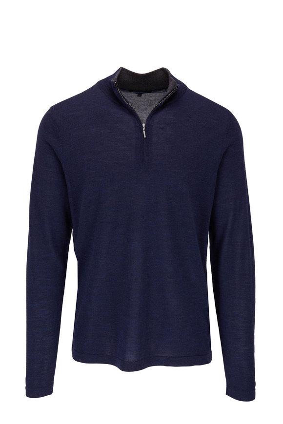 PYA Patrick Assaraf Navy Blue Wool Quarter-Zip Sweater