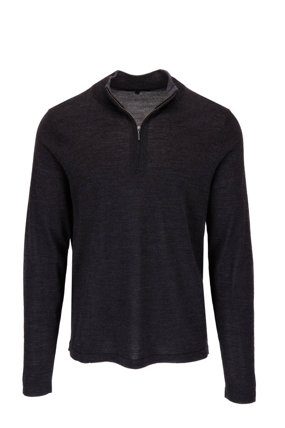 PYA Patrick Assaraf Charcoal Gray Wool Quarter Zip Pullover