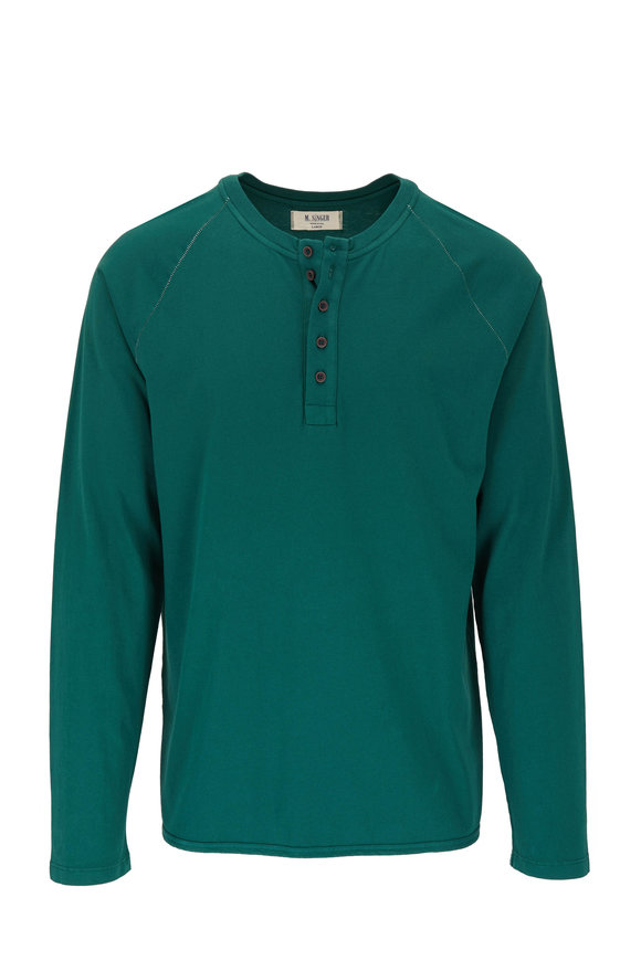 M.Singer Forest Green Magic Wash Henley