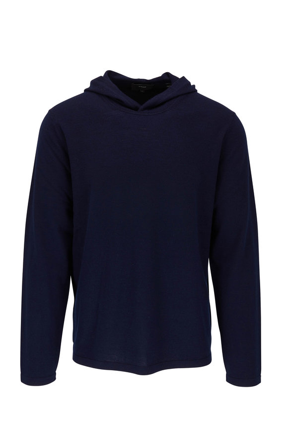 Vince Coastal Blue Wool & Cashmere Hoodie Sweater