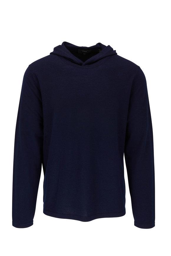Vince Coastal Blue Wool & Cashmere Hoodie Sweater