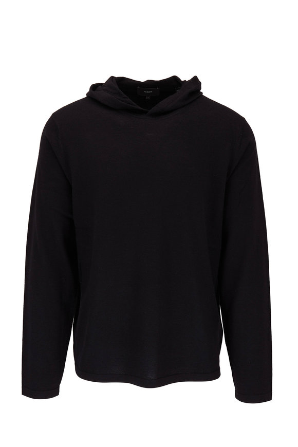 Vince Black Wool Blend Hooded Pullover