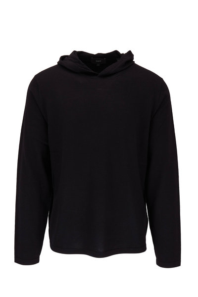 Vince - Black Wool Blend Hooded Pullover