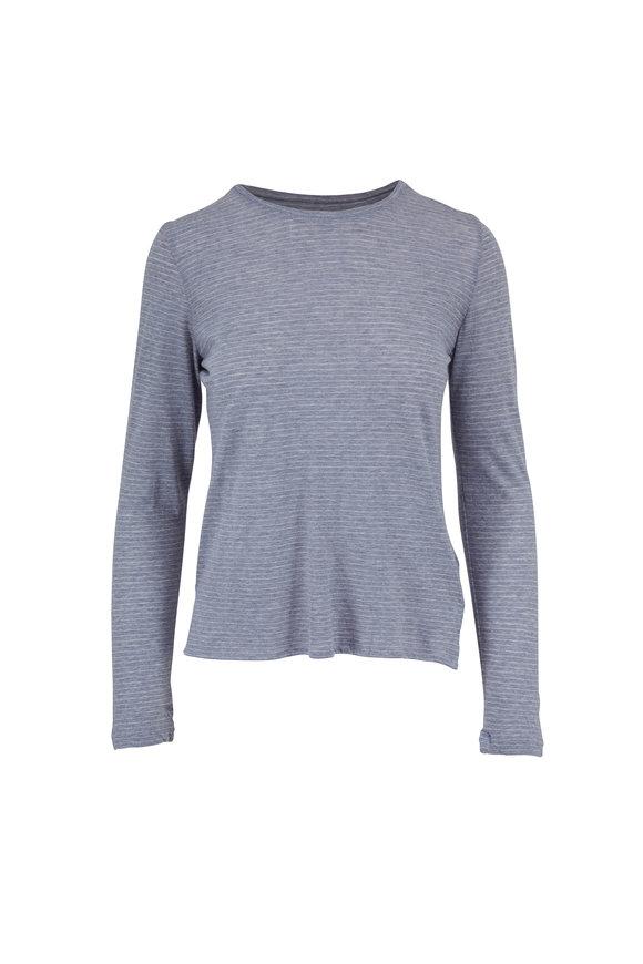 Majestic Sky Blue & Milk Striped Cotton & Cashmere T-Shirt