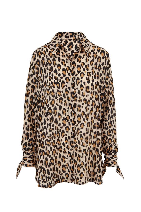 Escada Neddi Leopard Tie Cuff Silk Tunic