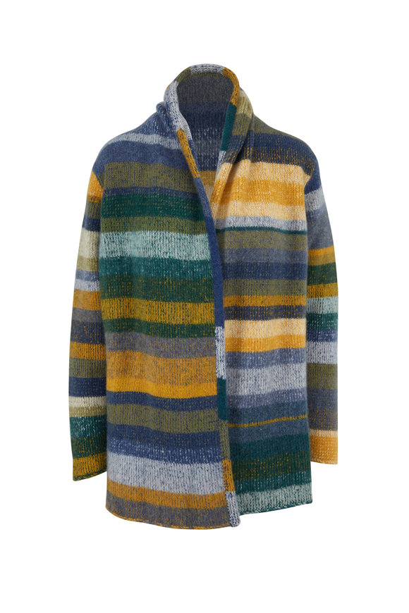 The Elder Statesman Italy Emerald & Blue Cashmere Cardigan