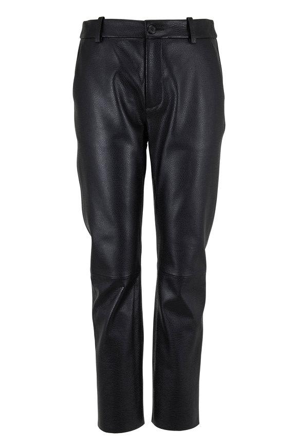 Nili Lotan Montauk Black Stamped Leather Pant