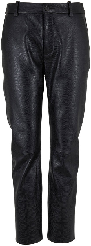 Nili Lotan Montauk Black Stamped Leather Pant