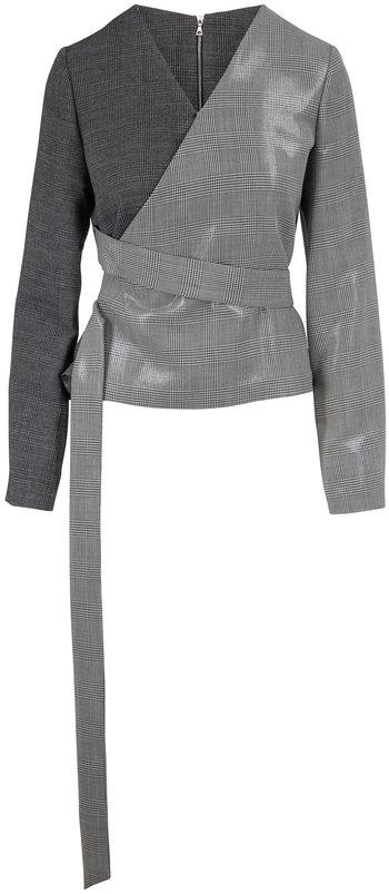 Partow Black & White Glen Plaid Stretch Wool Wrap Top