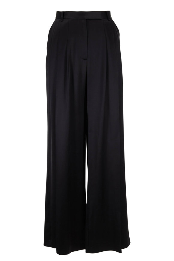 Partow Gideon Black Pleated Wide Leg