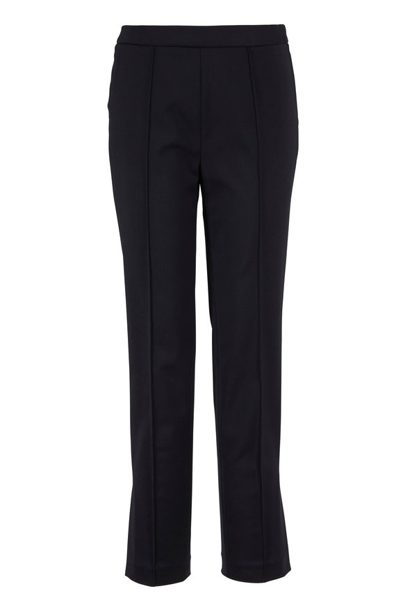 Partow Maurice Black Stretch Cotton Straight Pant