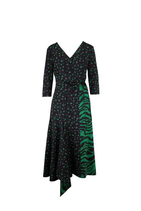 Dorothee Schumacher Exotic Escape Green Animal Mixed Print Scuba Dress