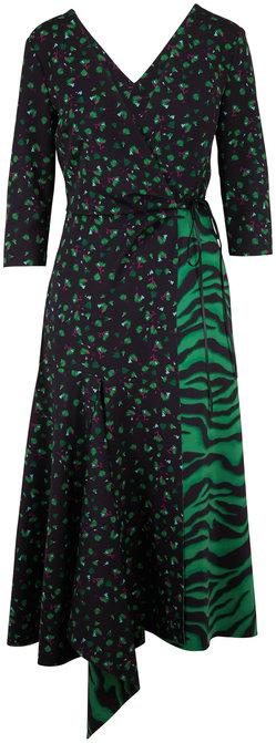 Dorothee Schumacher Exotic Escape Green Animal Mixed Print Scuba Dress