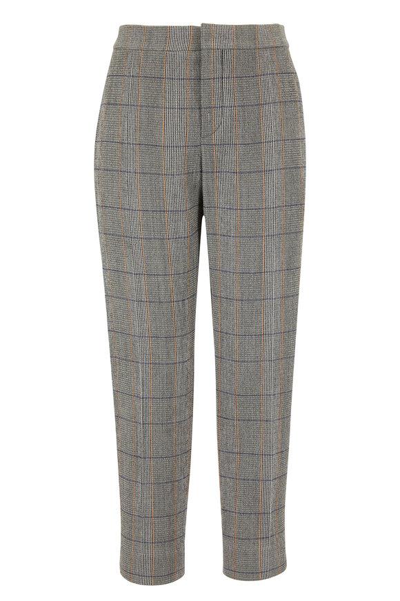 Chloé Khaki Stretch Wool Plaid Ankle Pant