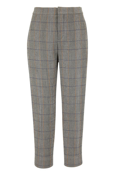 Chloé - Khaki Stretch Wool Plaid Ankle Pant