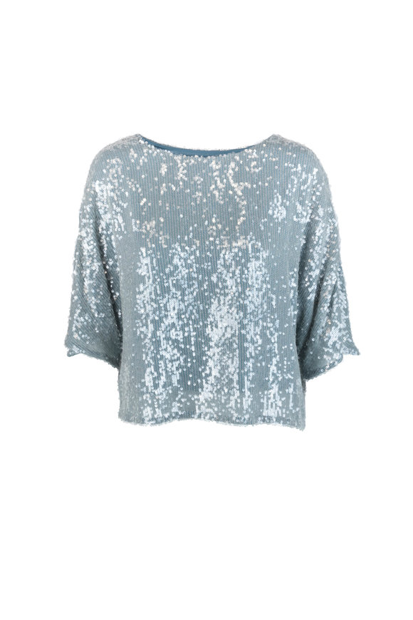 Sally LaPointe Steel Blue Sequin Dolman Blouse