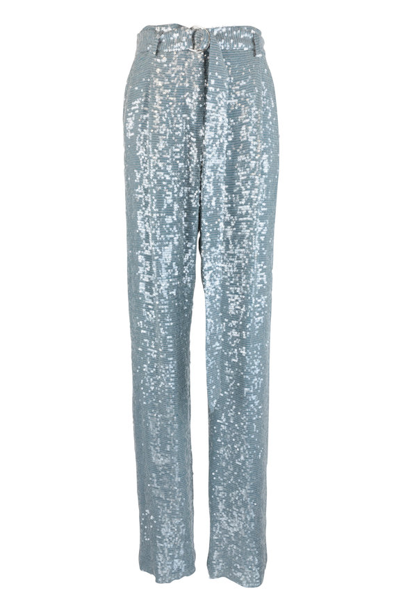 Sally LaPointe Steel Blue Sequin High Waist Pant