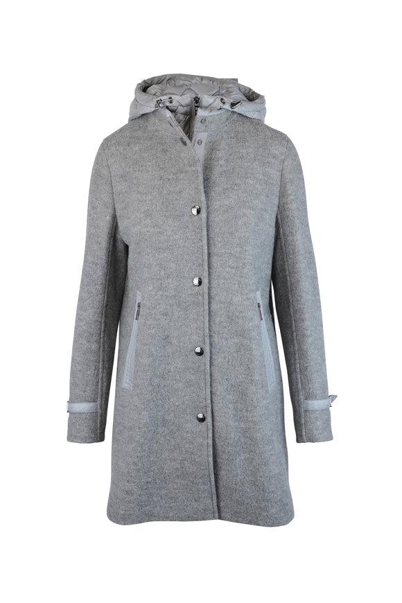 Bogner Kerrid Gray Wool Removable Hooded Coat
