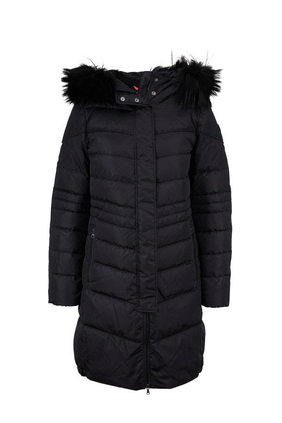 Bogner Lelia Black Fur Trim Quilted Puffer Coat