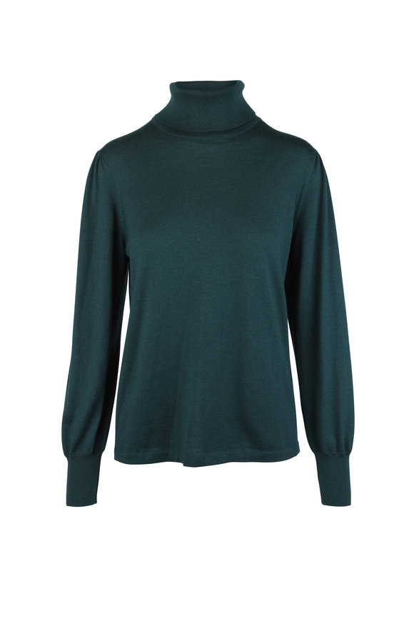 Kiton Hunter Green Cashmere & Silk Turtleneck Sweater