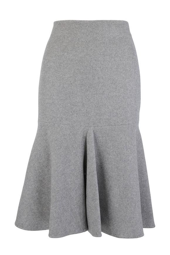 Giorgio Armani Gray Cashmere Fluted Skirt
