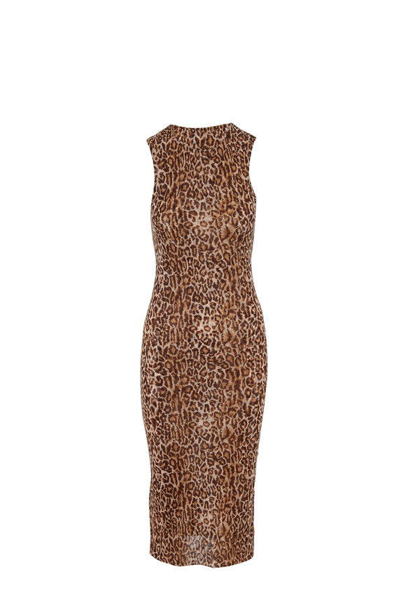 Peter Cohen Copper Tulle Leopard Print Sleeveless Dress