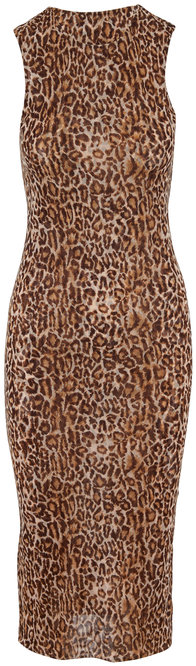 Peter Cohen Copper Tulle Leopard Print Sleeveless Dress