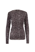 Peter Cohen - Nickle Tulle Leopard Print Long Sleeve Top