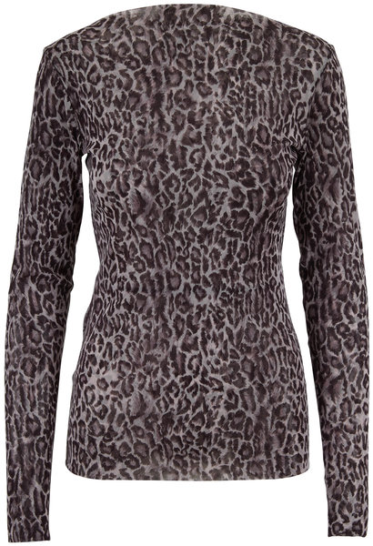 Peter Cohen Nickle Tulle Leopard Print Long Sleeve Top