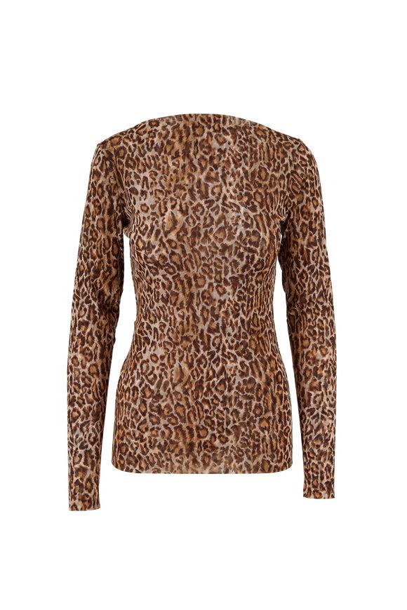 Peter Cohen Copper Tulle Leopard Print Long Sleeve Top