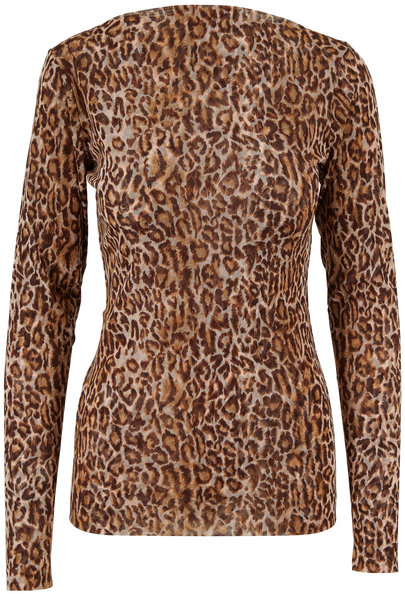 Peter Cohen Copper Tulle Leopard Print Long Sleeve Top