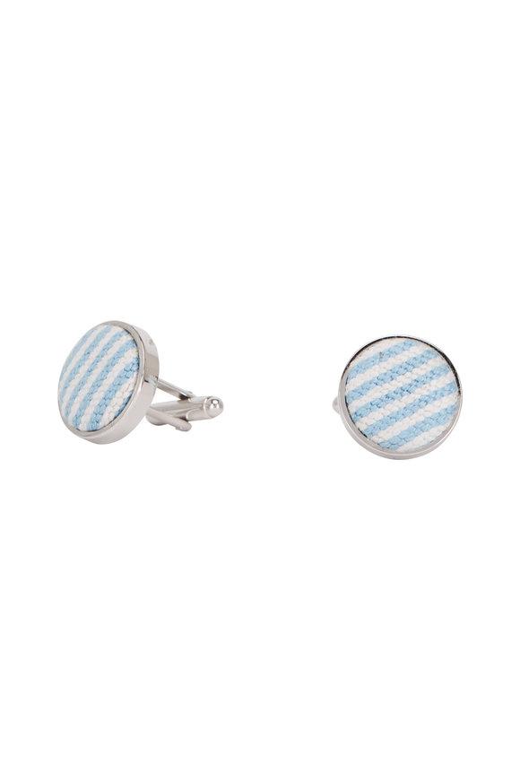 Smathers & Branson Blue Seersucker Needlepoint Cufflinks