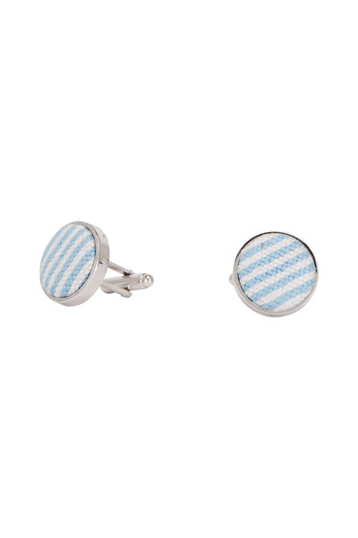 Smathers & Branson - Blue Seersucker Needlepoint Cufflinks