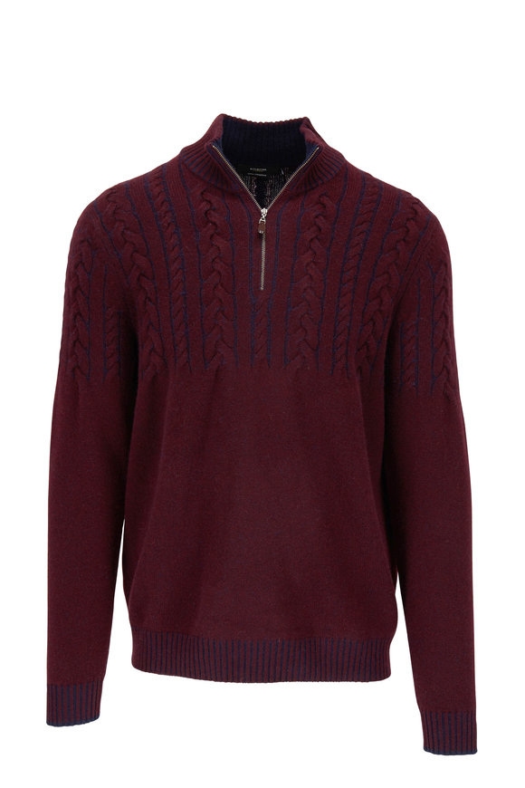 Kinross Wine Cashmere Cable Knit Quarter-Zip Sweater