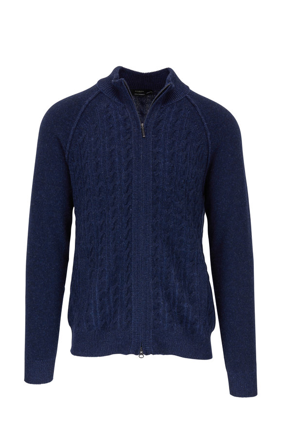 Kinross Dark Navy Cashmere Cable Knit Front Zip Sweater