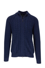 Kinross - Dark Navy Cashmere Cable Knit Front Zip Sweater