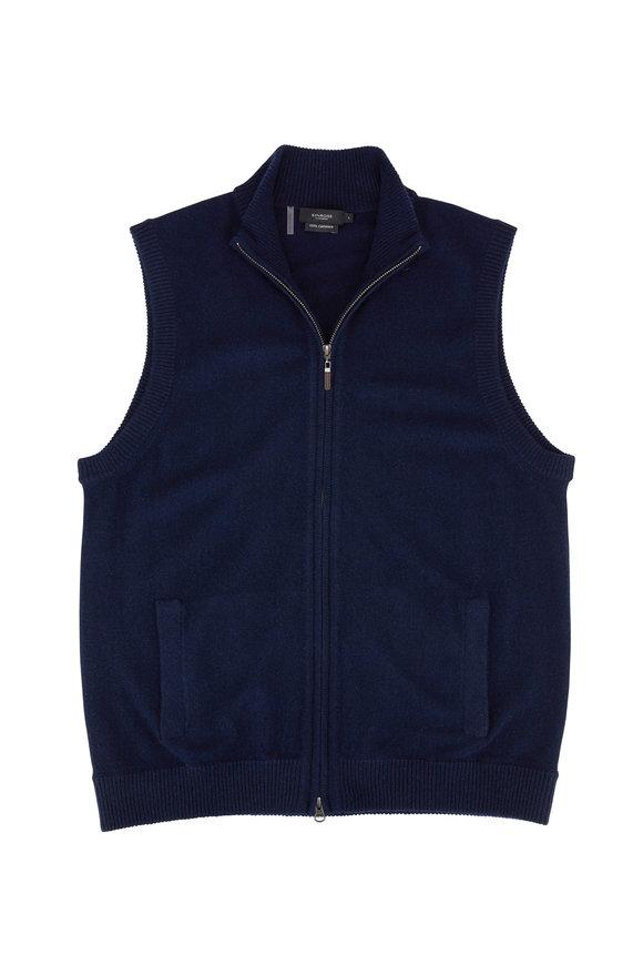 Kinross Navy Cashmere Front Zip Vest