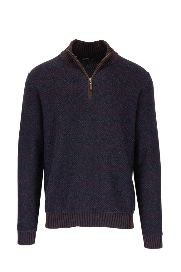 Kinross Brown Herringbone Cashmere Quarter-Zip Pullover