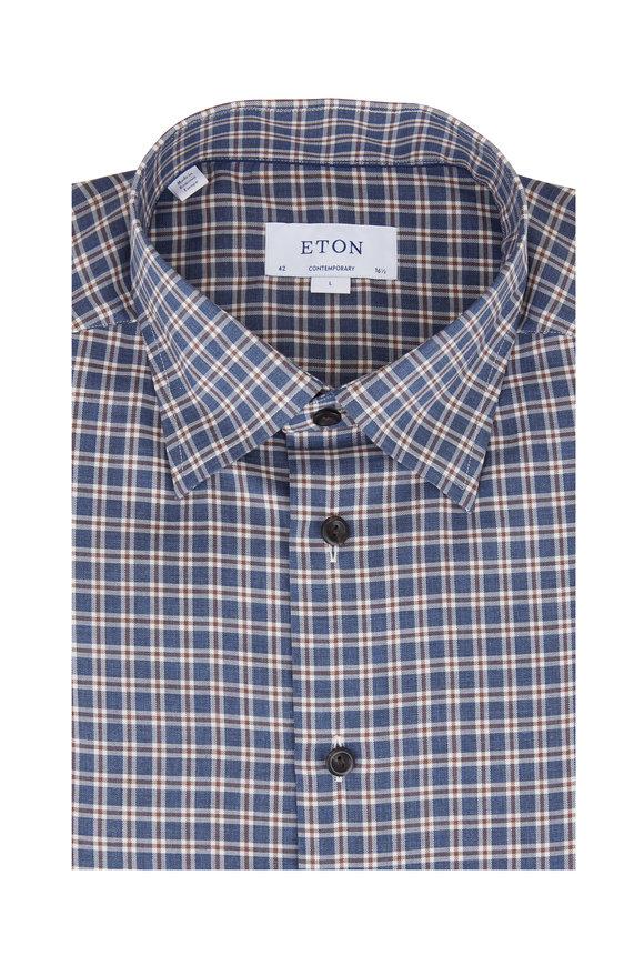 Eton Blue & Brown Check Contemporary Fit Dress Shirt